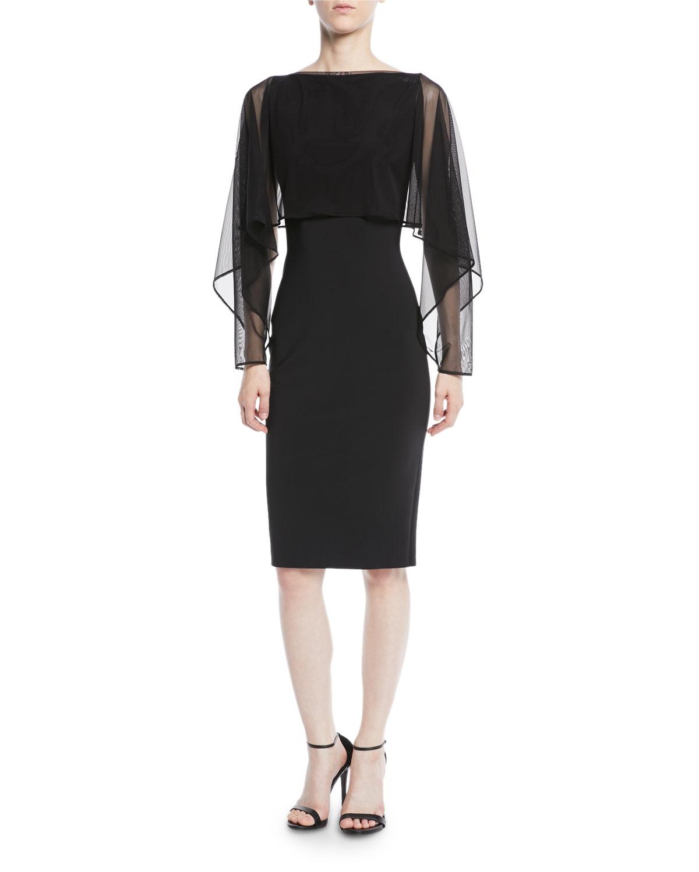 e9d9a058ceb Chiara Boni La Petite Robe Nomeda Illusion-Sleeve Cocktail Dress w  Mesh  Capelet