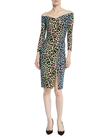 Irene Leopard-Print Bateau-Neck Cocktail Sheath Dress