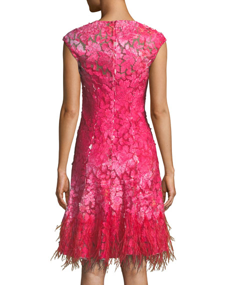 Moriah Mesh Overlay Dress w/ Feather Hem