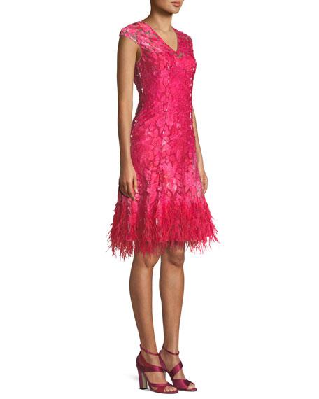 Moriah Mesh Overlay Dress w/ Feather Hem