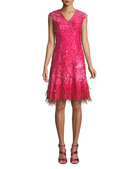 Elie Tahari Moriah Mesh Overlay Dress w/ Feather