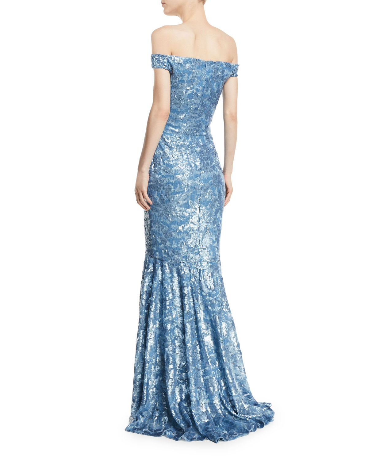 Theia Sequin Embellished Off-the-Shoulder Gown   Neiman Marcus