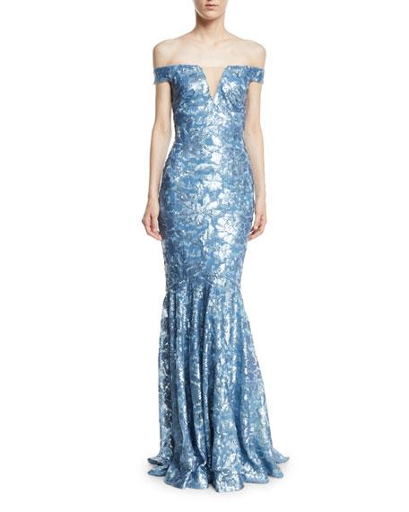Sequin Embellished Off-the-Shoulder Gown