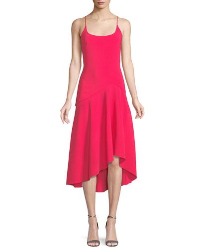Stretch Crepe Asymmetric Tank Dress