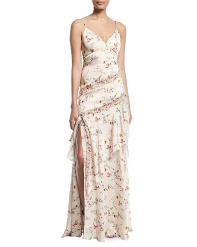 Floral-Print Ruffle Slip Dress