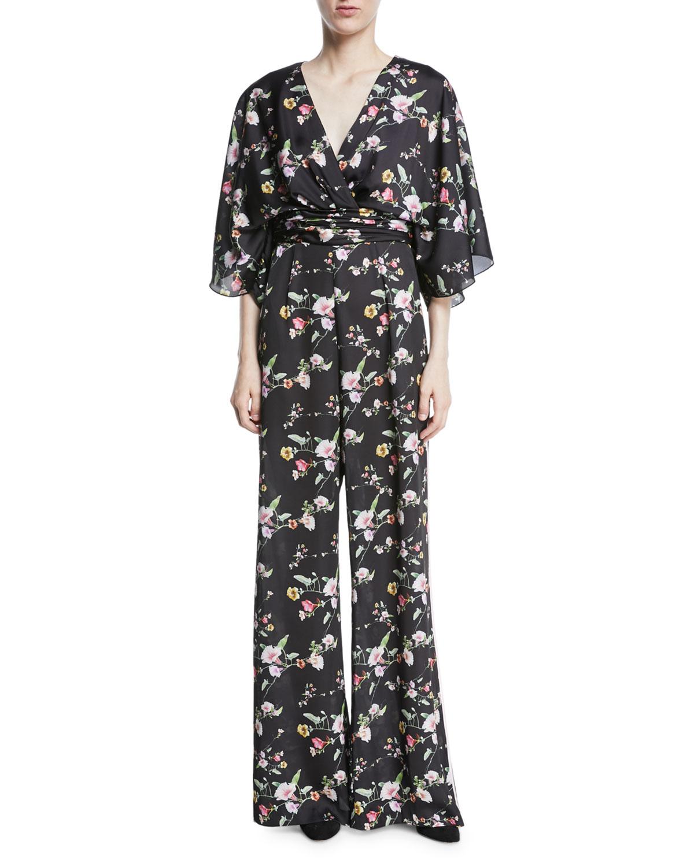 2015 Spring Beach Greek Goddess Wedding Dress Open Back: Theia Kimono Floral V-Neck Jumpsuit