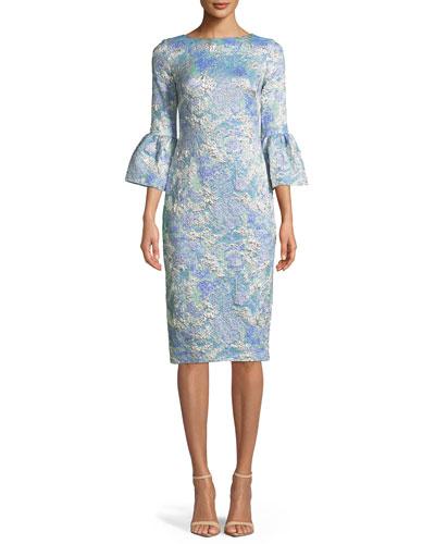 Tissue Cloqué Bell-Sleeve Dress