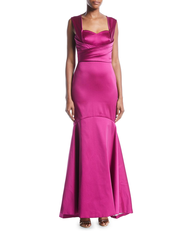 Theia Sleeveless Mermaid Gown in Satin | Neiman Marcus