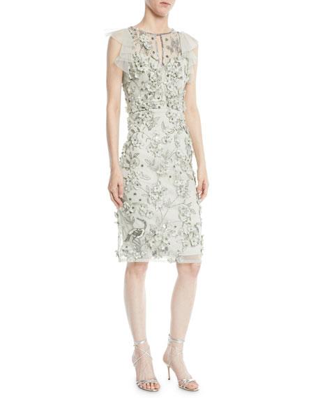 Flutter-Sleeve 3D Floral Dress