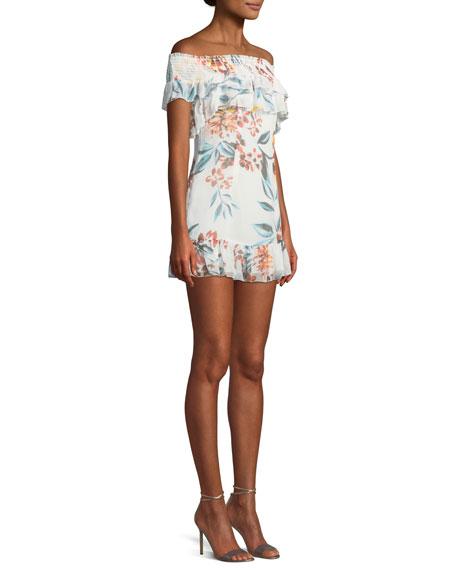 Lanzo Off-Shoulder Floral Flounce Short Dress
