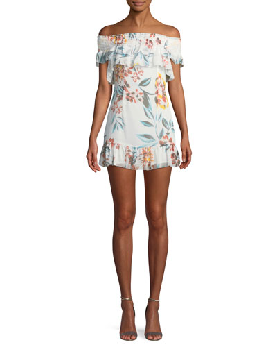 Lanzo Off-Shoulder Floral Flounce Short Dress