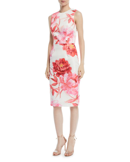 David Meister Large-Scale Floral Sheath Dress