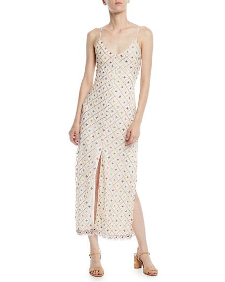 Linda Embroidered Sleeveless Slip Midi Dress