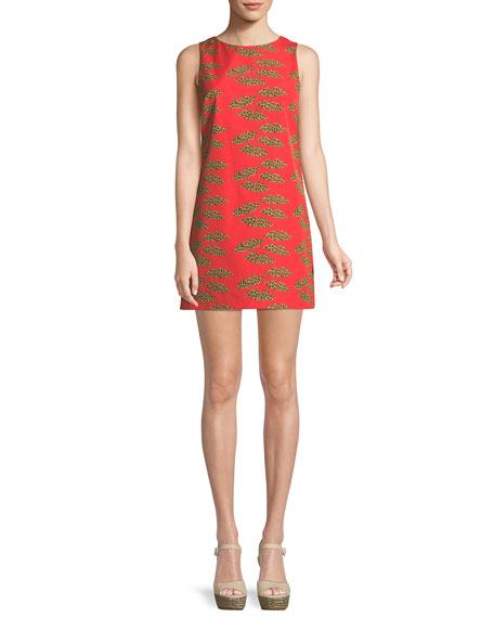 Alice + Olivia Clyde Cheetah Lips Mini Dress
