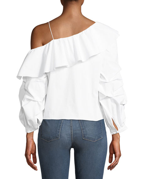 Irvine One-Shoulder Long-Sleeve Ruffled Poplin Top