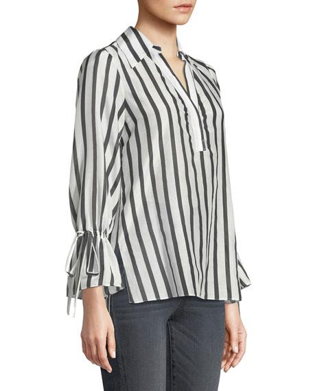 Geraldine Striped Bow-Sleeve Collared Tunic Top