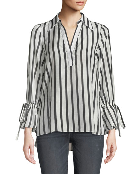 Alice + Olivia Geraldine Striped Bow-Sleeve Collared Tunic