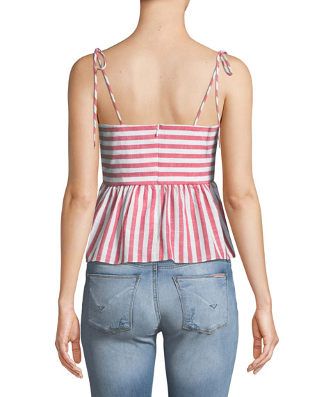 Summer Striped Tie-Front Sleeveless Top