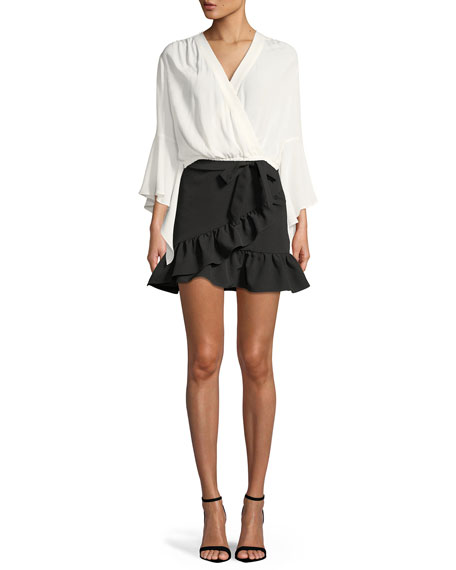 Frill Wrap-Front Mini Skirt