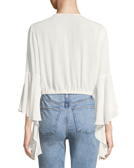 Paola Cross-Front 3/4-Sleeve Top