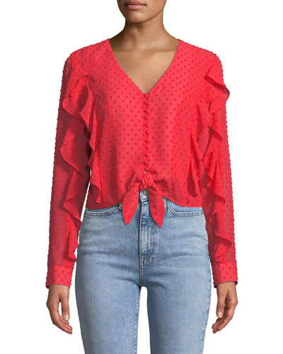 Dobby Tie-Front Frill Top