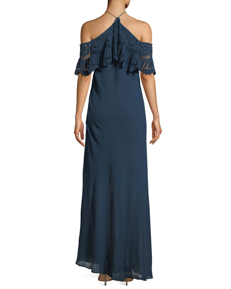 Pudina Crochet Halter Maxi Dress