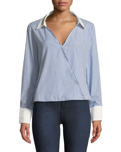 Striped Open-Back Frill Long-Sleeve Top