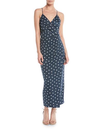 Spotty Dot-Print Sleeveless Wrap Dress