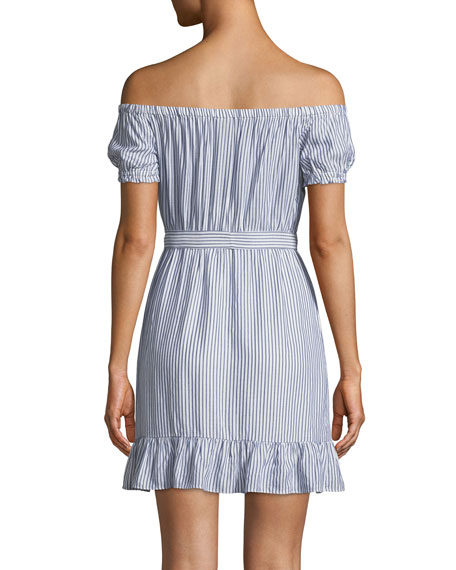 Bobbi Striped Off-the-Shoulder Flounce Dress