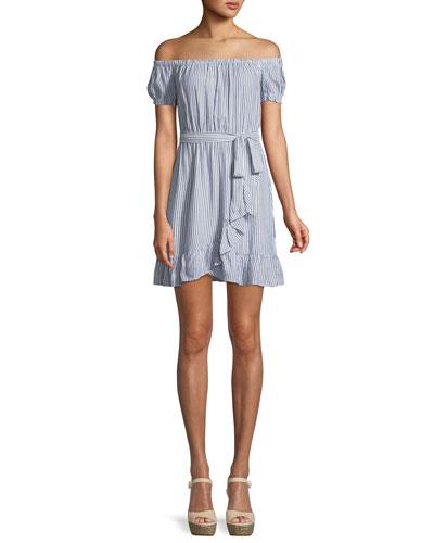 Bobbi Striped Off-the-Shoulder Flounce Dress