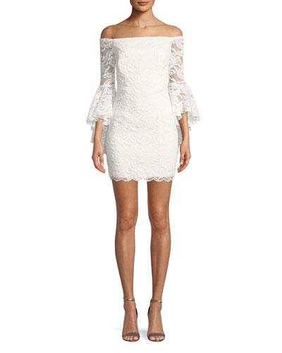 Selena Lace Off-the-Shoulder Mini Dress