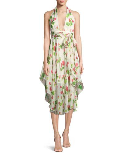Angie Floral-Print Chiffon Dress