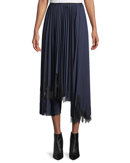 Pleated Tricot Lace-Detail Midi Skirt
