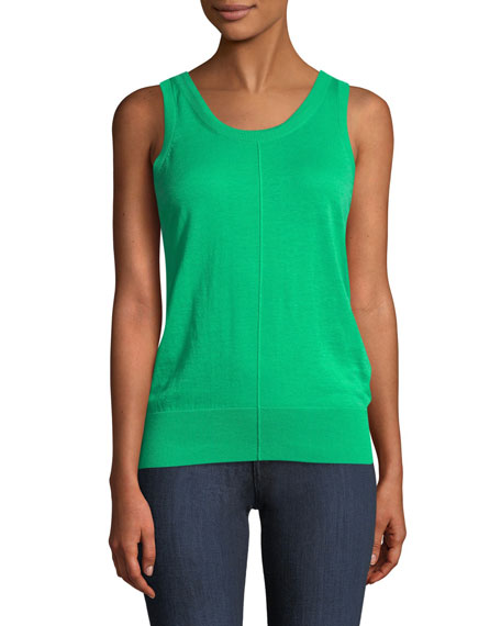 Folded Cotton-Cashmere Ribbed Tank Top