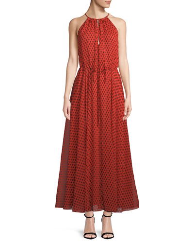 Dot-Print High-Neck Maxi Dress