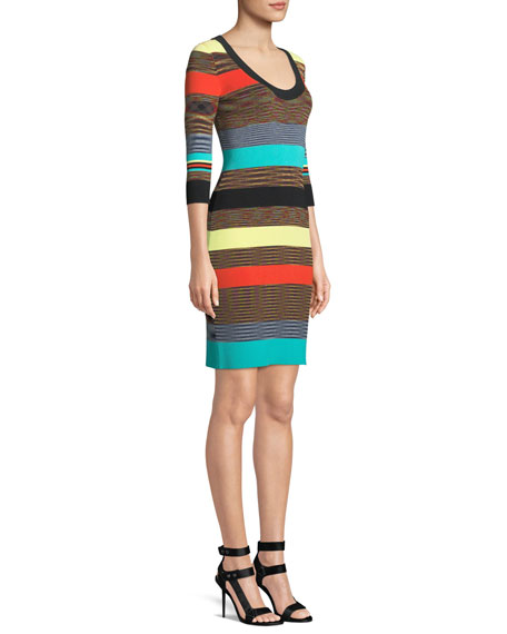 Striped Scoop-Neck Ribbed Sweater Dress