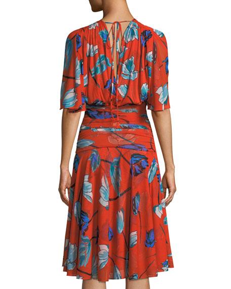 Shirred Floral-Print V-Neck Dress