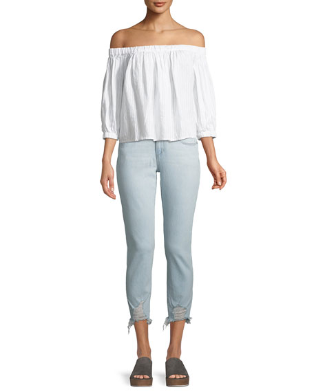 The Smith Distressed Cropped Skinny Jeans