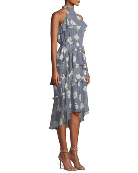 Anca Floral Ruffle Halter Midi Dress