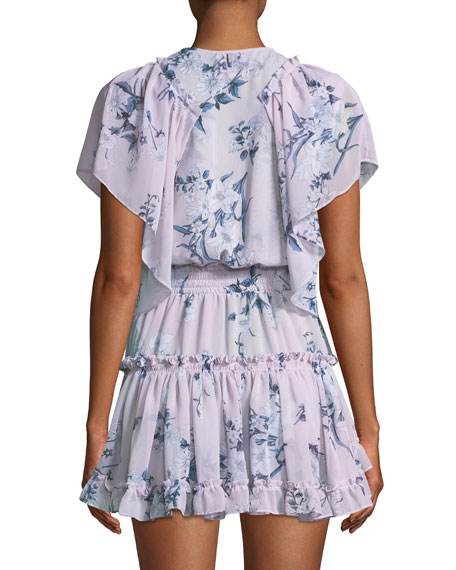 Lullu Floral-Print Ruffle Mini Dress
