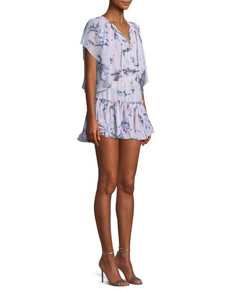 Lullu Floral-Print Ruffle Mini Dress