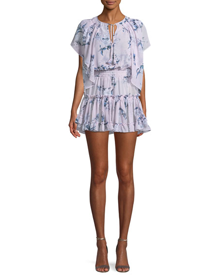 MISA Los Angeles Lullu Floral-Print Ruffle Mini Dress