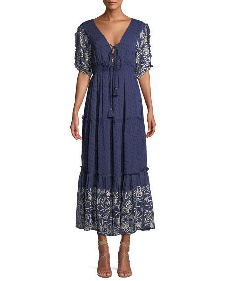 Lunah Printed Ruffle Maxi Dress