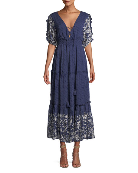 MISA Los Angeles Lunah Printed Ruffle Maxi Dress