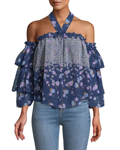 Penille Floral Ruffle Halter Top