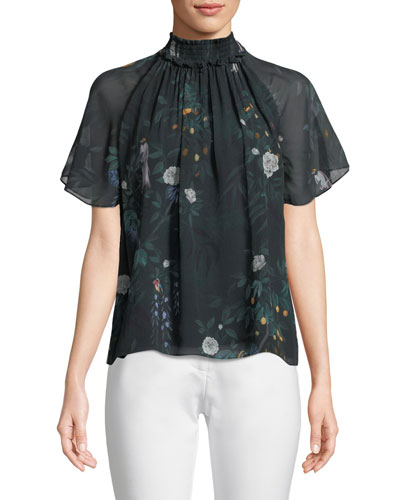 Arlen Short-Sleeve Silk Top