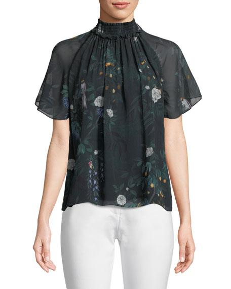 Arlen Short-Sleeve Silk Top