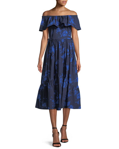hibiscus off-the-shoulder cotton dress