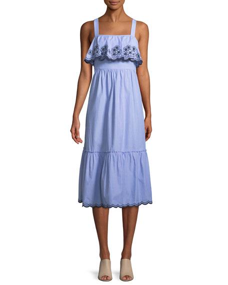 sleeveless daisy embroidered patio dress