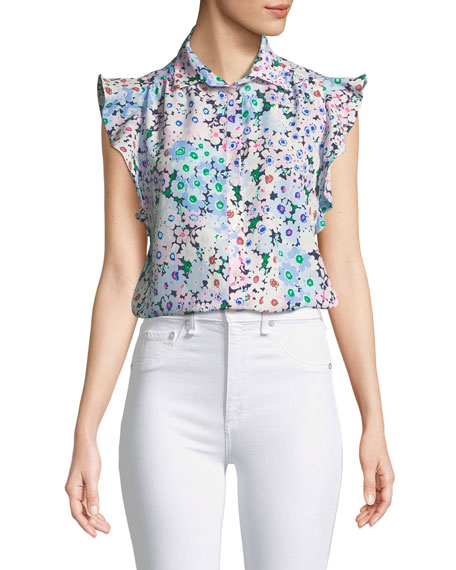 daisy garden ruffle-sleeve top